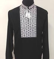 Вышиванка мужская черная с белой вышивкой, лен