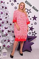 Красное платье по колено лен с украшением большой размер