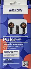 Гарнитура для смартфонов Defender Pulse 420 черный + оранжевый, фото 3