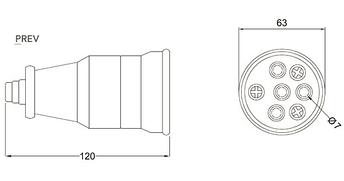 Розетка переносна силова, з кришкою BEMIS 3P + N 380-415В 25А каучукова IP55, фото 2