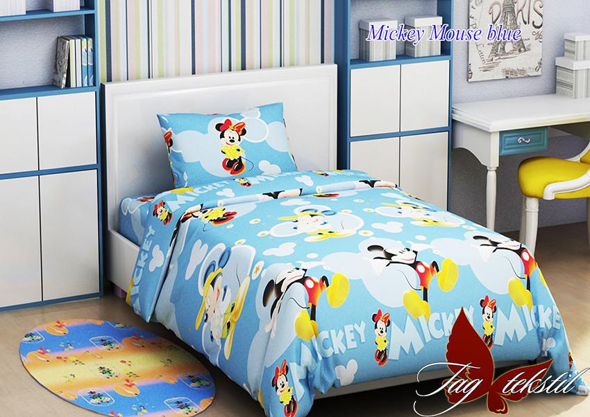 Постельное белье полуторное Микки маус Mickey Mouse blue