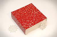 Універсальна коробка-пенал з ложементом 160*160*55 Новорічна червона