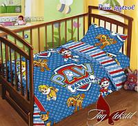 Детский комплект постельного белья с простынью на резинке Paw patrol Щенячий патруль