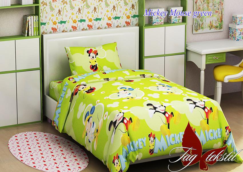 Mickey Mouse green Комплект постельного белья 100% Хлопок