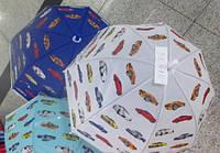 """Зонт """"Машинки"""", 2 вида, син и бел  матов. клеенка, купол. форма, в пак. 45см."""
