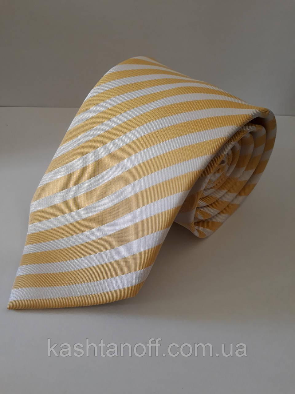 Галстук желтый в диагональную белую полоску