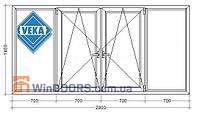 "Балконная рама ПВХ (Века) Veka Softline 70 мм, энергосберегающая 9-ти 12-ти этажка ""Чешка"" 2800х1400 мм"
