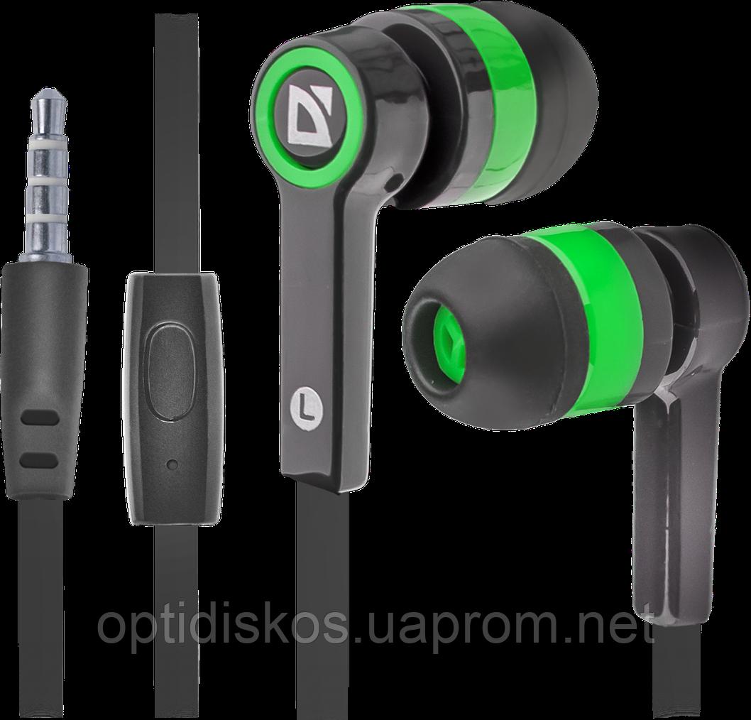 Гарнитура для смартфонов Defender Pulse 420 черный + зеленый