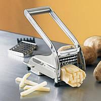 Измельчитель овощей картофелерезка Potato Chipper, картофелерезка стальная с 2 насадками для картошки фри
