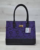Каркасная женская сумка сиреневая змея с черным гладким