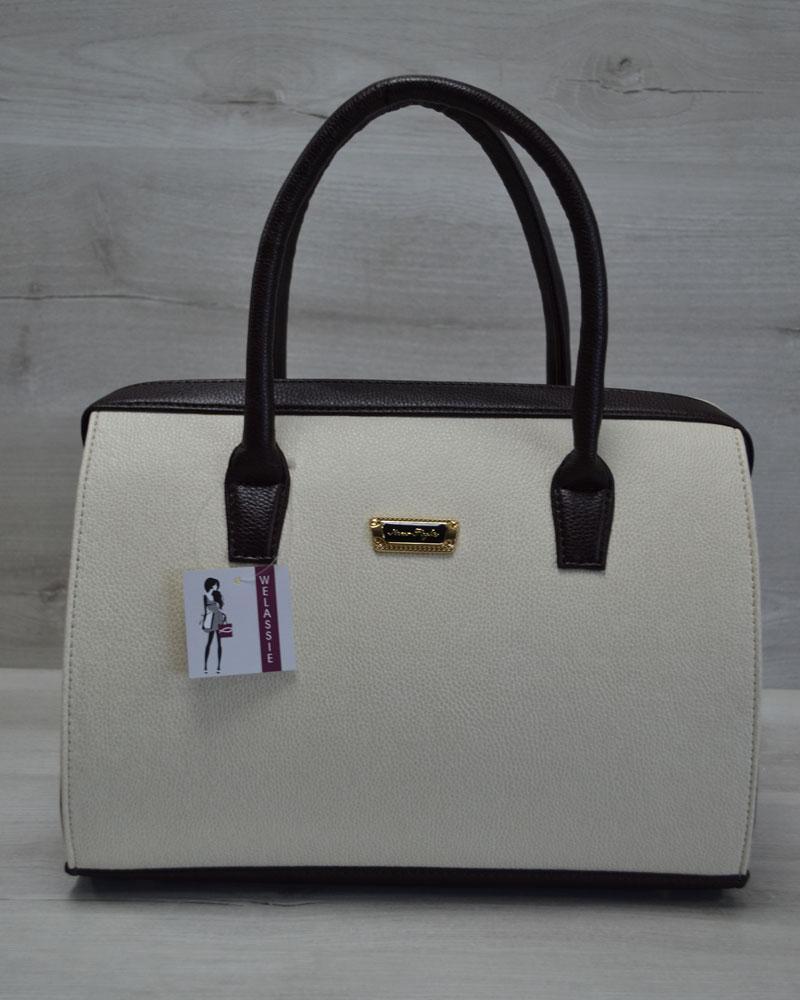 Каркасная женская сумка Саквояж бежевый гладкий с коричневыми ручками 41257373fdf