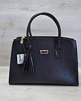 Молодежная женская сумка Кисточка черного цвета