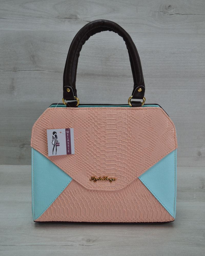 e193345cc99a Женская сумка Конверт коричневая с пудрово-голубой вставкой - Интернет  магазин
