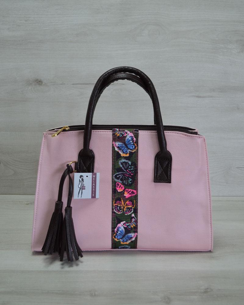 cbe10aeebf4e Молодежная женская сумка Кисточка розовая с стропой бабочки - Интернет  магазин