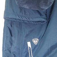 Тёплые спортивные штаны из плащевой ткани на тёплой натуральной подкладке, темно-синие, Турция-Soccer.