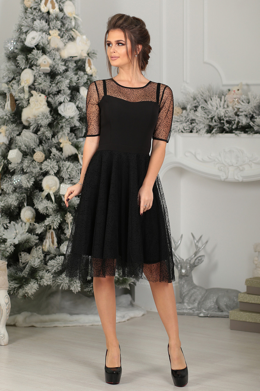 Коктейльное Платье Авелин в черном цвете