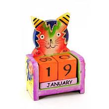 Настольный календарь деревянный Кот