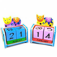 Календарь деревянный из кубиков Кот