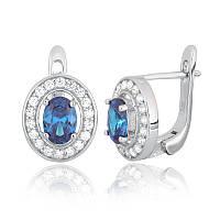 Серебряные серьги-комплект с голубыми камнями СК2ФЛТ/482