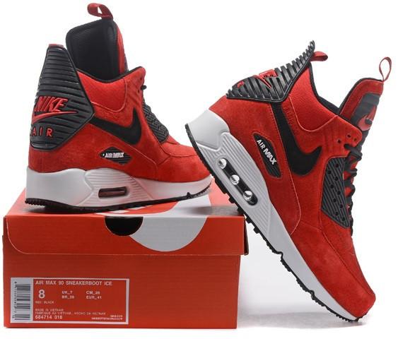 a866a72c Зимові кросівки Nike Air Max 90 Sneakerboot 46 размер червоні - Интернет -  магазин