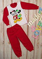 Детская пижама на девочку Минни красная ,утепленная на баечке