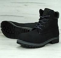 Зимние ботинки Timberland черные с мехом (тимберленд)