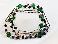 Винтажные зеленые бусы, ожерелье.
