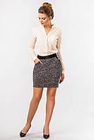 Кожаная юбка со вставкой букле