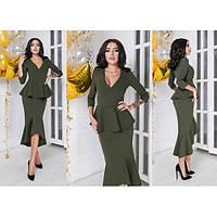 Платье женское с баскай+вырез декольте ММ-274 хаки