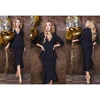 Платье женское с баскай+вырез декольте ММ-274 черный