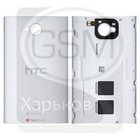 Задняя панель корпуса для HTC One M7 DUAL Sim 802w, серебристая, оригинал (Китай)