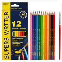Цветные карандаши с кистью, Набор 12 цв, Super Writer Marco