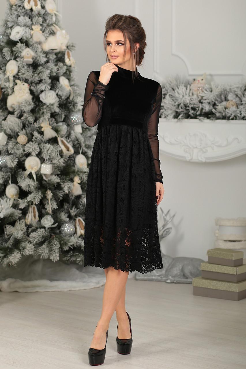Платье нарядное Бенедикт в черном цвете