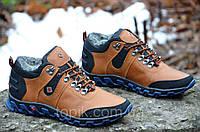 Кроссовки зимние кожа ботинки полуботинки Columbia Коламбия реплика мужские коричневые (Код: Ш286а)