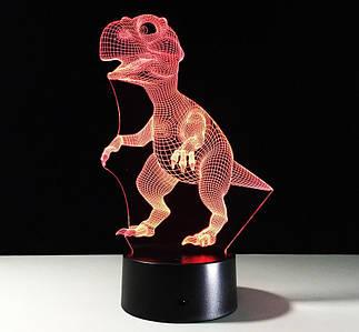 Ночник детский, светильник детский, 3D светильник, Динозаврик