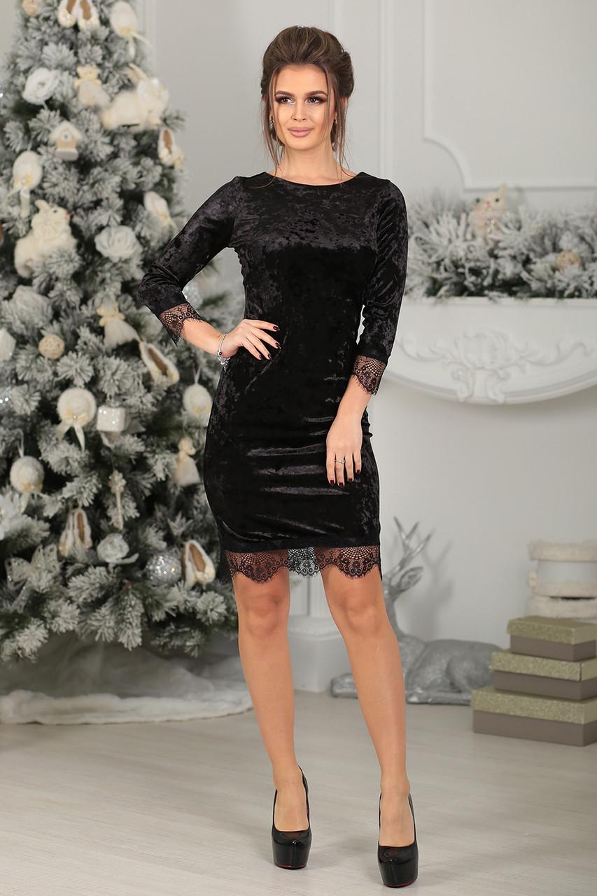 Нарядное Платье велюровое в черном цвете