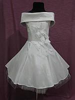 Платье детское нарядное белое с 3Д бабочками на 4-7 лет