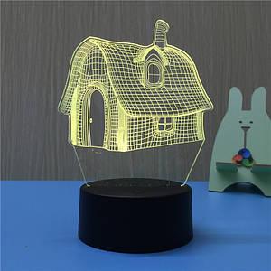 3D Светильник, Ночник  Домик