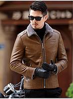 Куртка зимняя кожаная на овчине молодежная.