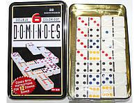Домино в металлической коробке i5-40, домино настольная игра, игра домино, настольное домино