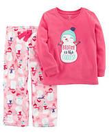 Пижама флисовая на девочку 3-4-5 лет Снеговик Carter's (США)