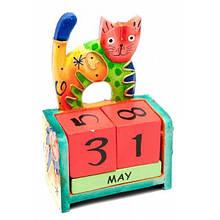 Календарь из кубиков Кот дерево настольный