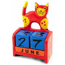 Календарь кубики настольный из дерева Кот