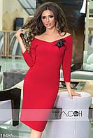 Платье женское с брошью на груди