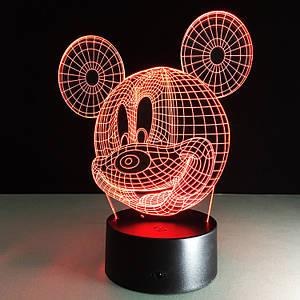 3D Светильник детский Микки Маус