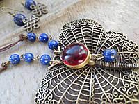 Комплект из лазурита с красным кварцем. серьги и колье