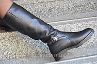Женские зимние высокие сапожки черные хорошая натуральная кожа удобная колодка Львов (Код: Ш937). Только 36р!