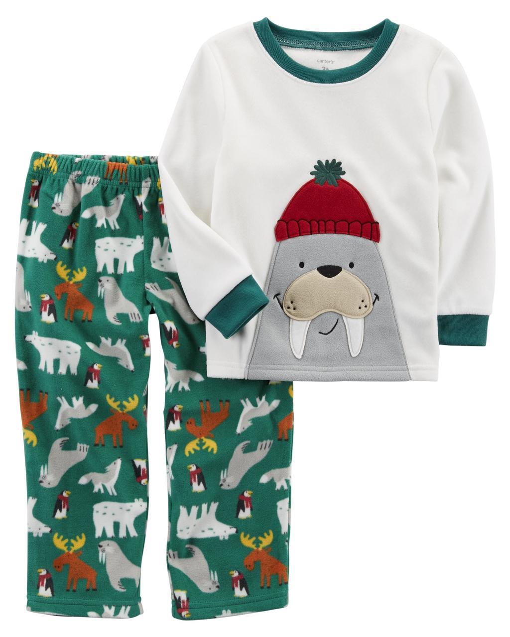 Пижама флисовая на мальчика 3-4 года Морж Carter's (США)
