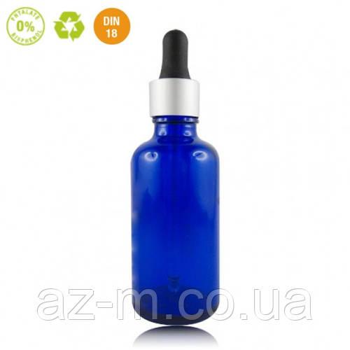 Флакон стеклянный с пипеткой (синий), 50 мл