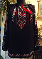 Вишиванка (вышиванка ) на чорному шифоні  вишита шовком ручна робота розмір 46-48